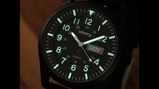 мужские часы infantry mens quartz luminous military date day army sport black wrist watch