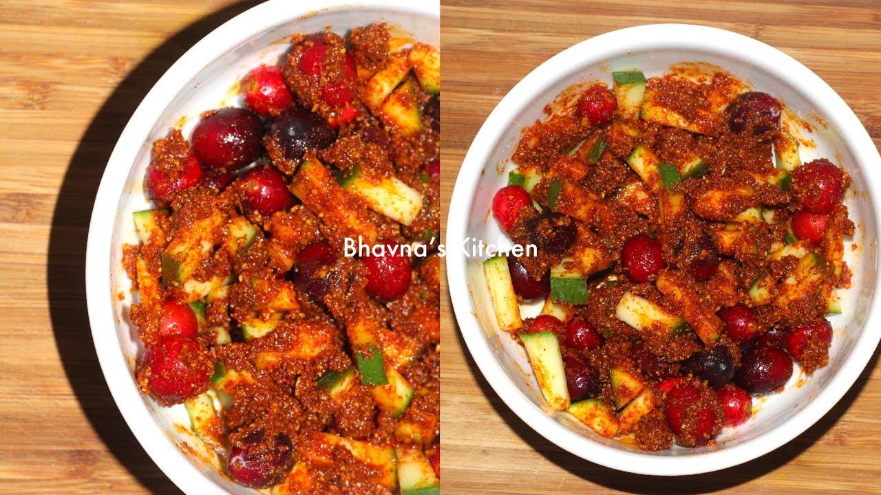 Instant Hot Cranberry Mango Pickle Video Recipe | Bhavna's Kitchen