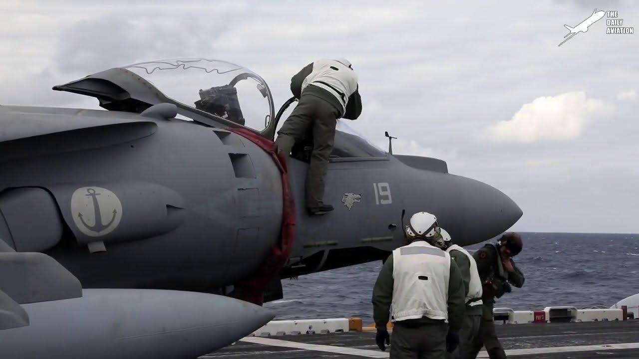 Insane US Harrier Pilot Flying in Middle of Ocean: AV-8B Harrier II
