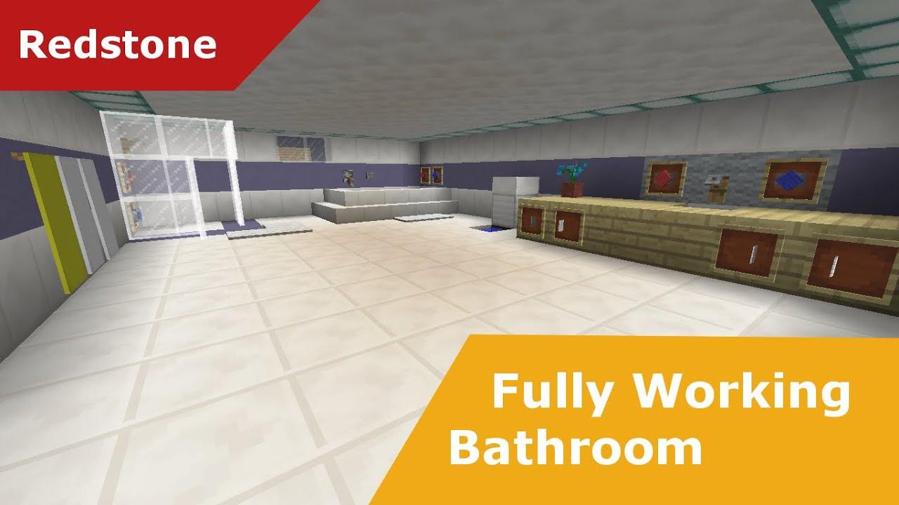 Minecraft Furniture Bathroom minecraft redstone: 100% fully working bathroom (made with new 1.8