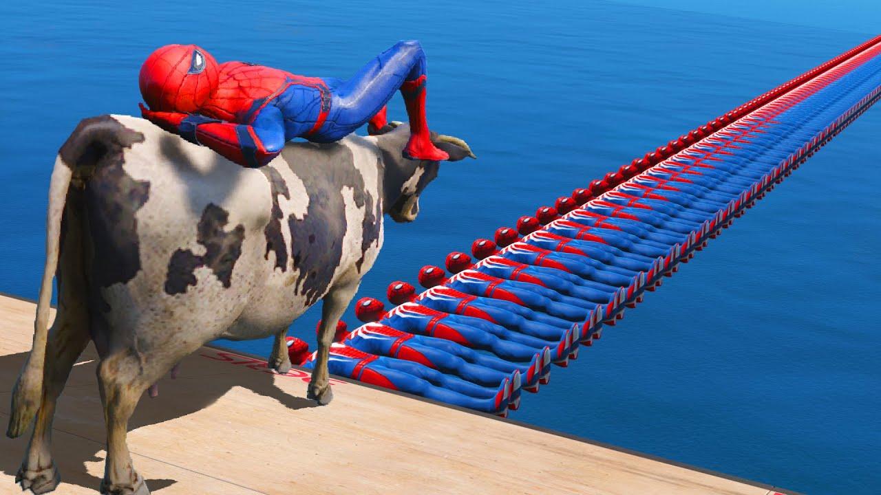 SPIDERMAN & COW | GTA 5 Water Ragdolls Spider-Man Bridge #121 (Euphoria Physics)