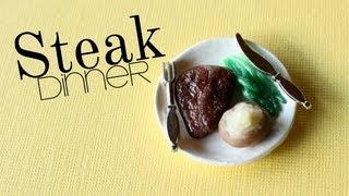 Steak Dinner - Polymer Clay Plate, Meat, Asparagus, & Baked Potatoe Tutorial