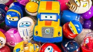 동글동글 알속에 파파트럭 슈퍼윙스 킨더조이 토마스 카 모두 모두 모여라! 슈퍼윙스 변신 장난감 Super Wings Egg Toys