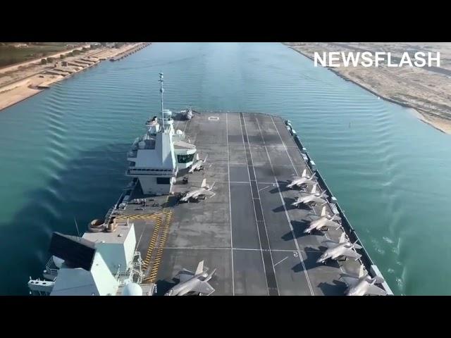 HMS Queen Elizabeth Passing Through The Suez Canal