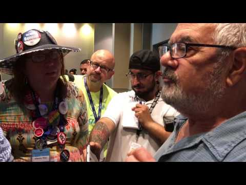 Barney Frank argument with Bernie Sanders supporter- Dem Convention