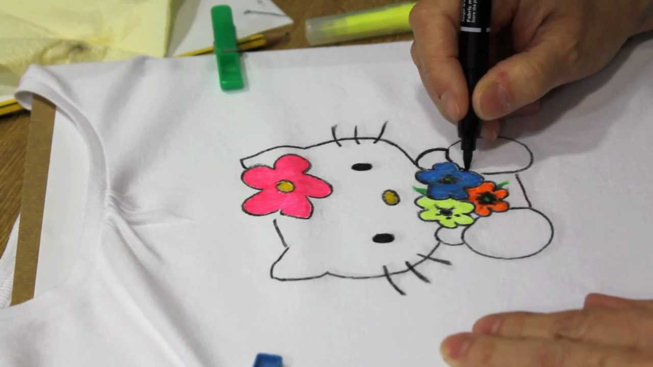 Diy Cómo Pintar Una Camiseta De Hello Kitty Youtube