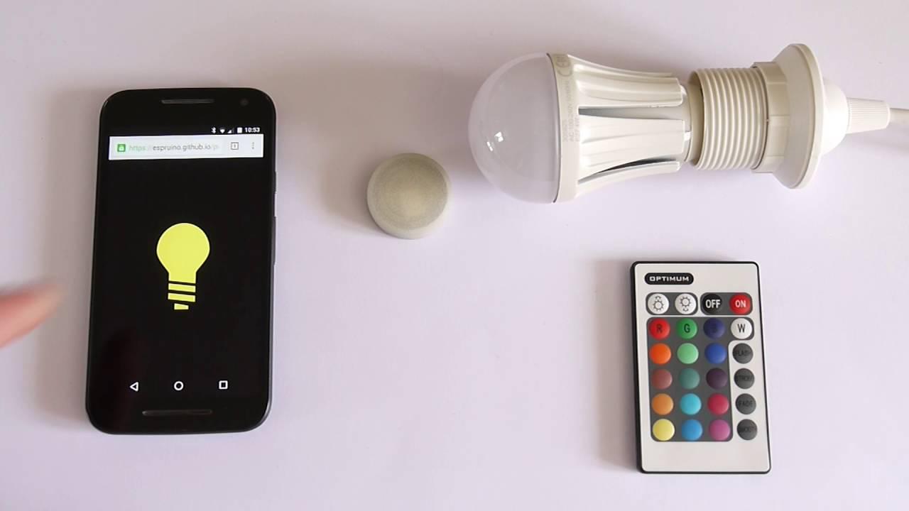 Puck js: Infrared control of light bulb