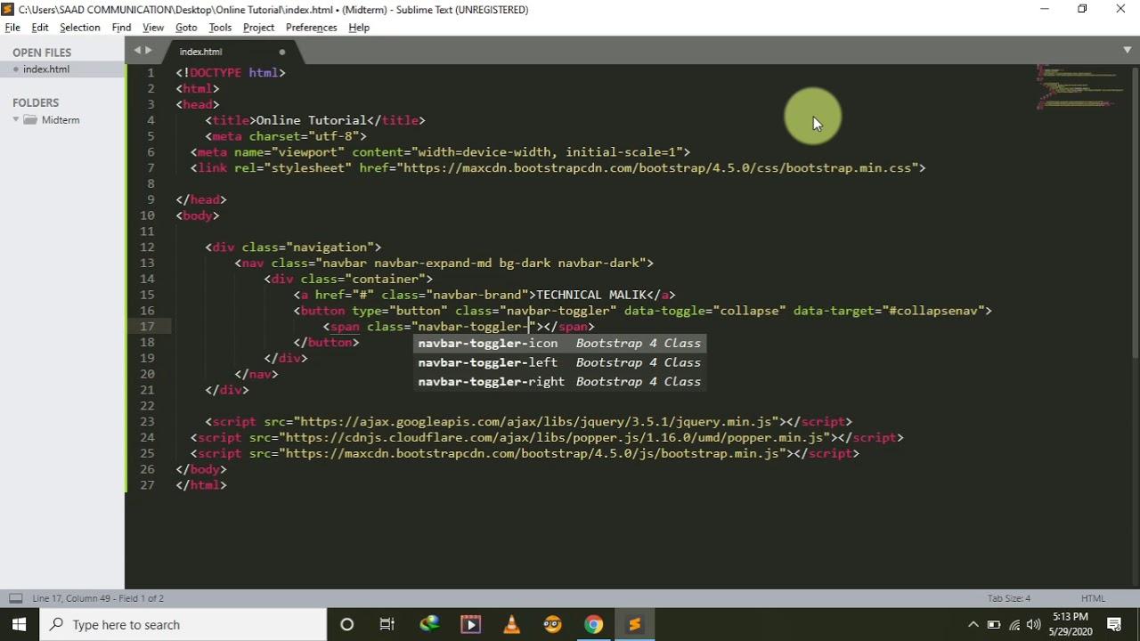 Create Navigation bar Using Bootstrap | Bootstrap ...