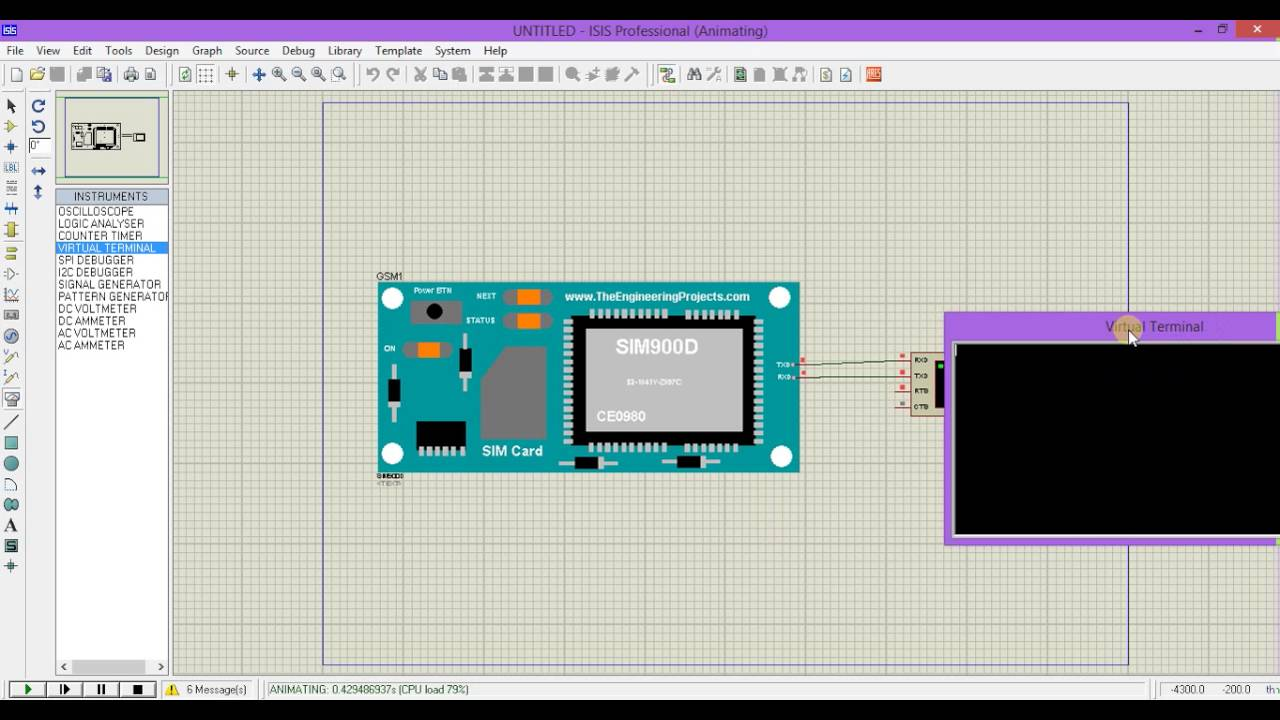 Gsm Module Simulation In Proteus Youtube Made Shows The Required 8051 Microcontroller Circuit