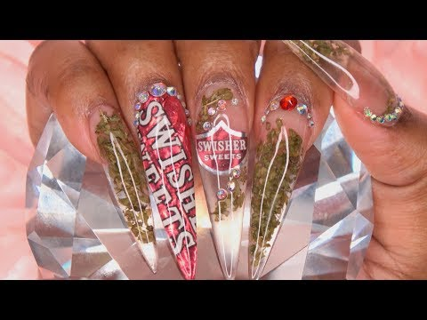420 Nails | Encapsulated Weed and Swisher Sweets Nail Art | LongHairPrettyNails