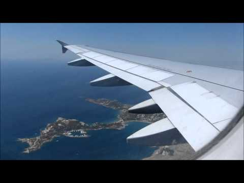 Aegean Airlines A320 Windy Landing at Athens Airport ( with nice view of the city of Athens)