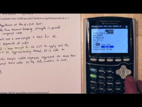 T-Test TI-84 Example & Understanding Type I & Type II Errors