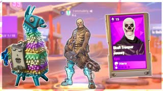 I got the skull trooper in fortnite.. 3 Free Birthday Llamas Opening