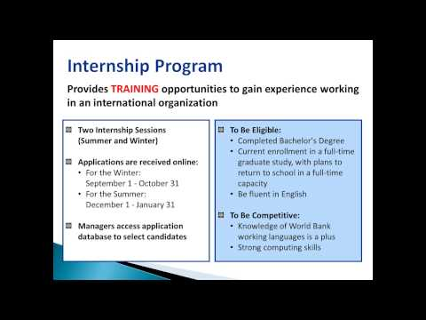 World Bank internships: When to apply, what to expect