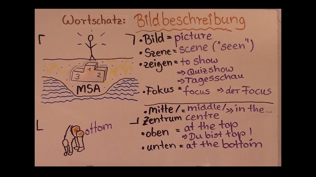 msa prfung wortschatz 01 basisvokabeln fr die bildbeschreibung - Englisch Bildbeschreibung Muster