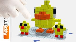 Blocky Duckling (and his Brothers) - Simple Tutorial for Preschool Kids (Qbics Paint)