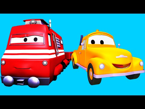 Tom The Tow Truck and his friends: Train, Flatbed Truck, Excavator and more ! | Cartoon for kids
