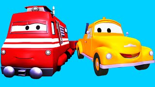 Tom The Tow Truck and his friends in Car City : Train, Flatbed Truck, Excavator | Cartoon for kids thumbnail