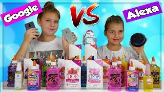 GOOGLE VS ALEXA 3 COLORS  OF GLUE SLIME CHALLENGE ! SIS vs SIS