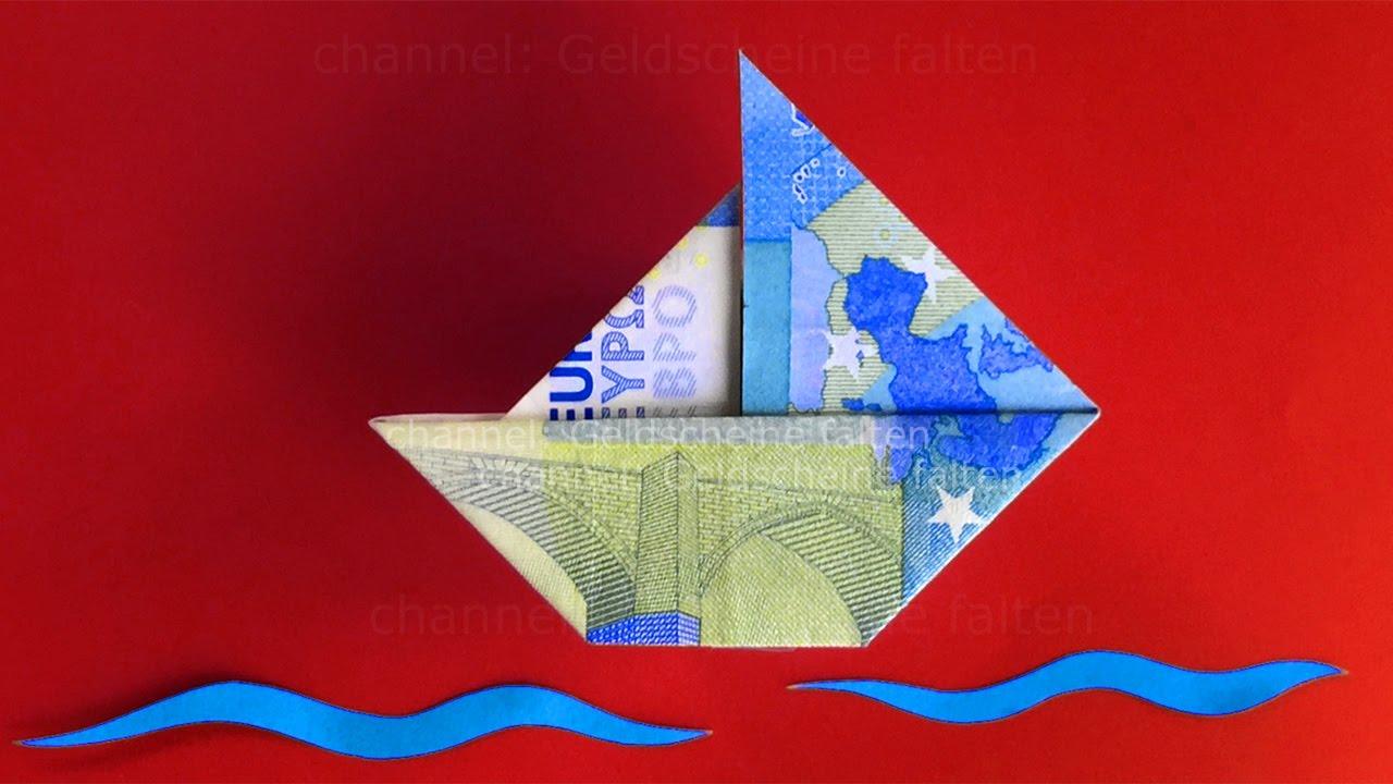 Geldscheine Falten Schiff Einfaches Origami Boot Mit Geld Falten