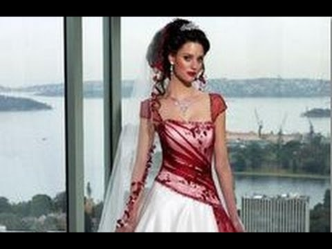 Maroon And White Wedding Dress