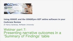 GRADEpro GDT 7 Presenting narrative outcomes in a 'Summary of Findings' table