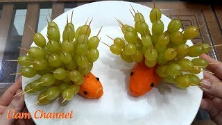 Decorate a fruit plate with Grapes in the shape of two funny urchins | Liam channel