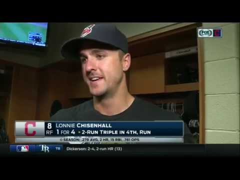 Lonnie Chisenhall laughs at himself while describing Rajai Davis' game-clinching play for Indians