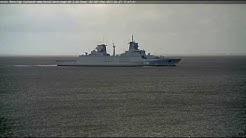 CUXHAVEN LiveCam Video - Deutsche Fregatte / German Frigate BADEN WUERTTEMBERG (F222) - 27.04.2017