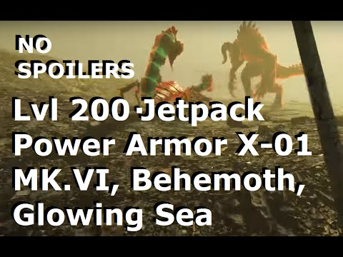 Fallout 4: Level 200 Gameplay - Jetpack Power Armor X-01 Mk. VI, Behemoth, Glowing Sea (NO SPOILERS)