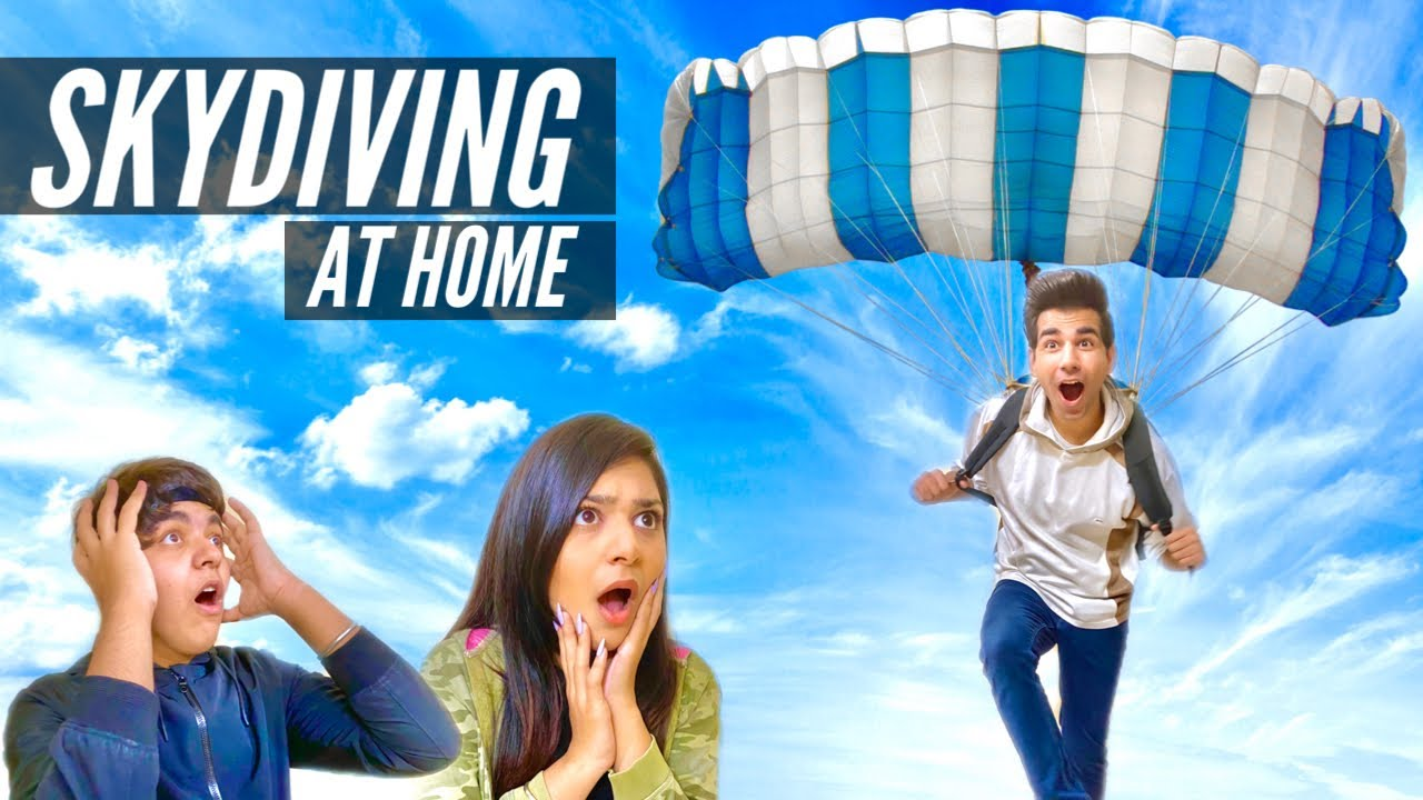 JUMPING WITH HOMEMADE PARACHUTE Challenge | Rimorav Vlogs ...
