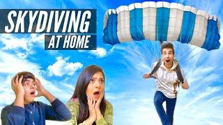 JUMPING WITH HOMEMADE PARACHUTE Challenge | Rimorav Vlogs