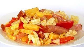 Салат «Итальянский» с Сыром, Ветчиной и Овощами кулинарный видео рецепт