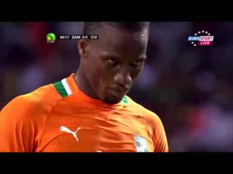 ACN Final - Zambia - Ivory Coast - Missed Penalty by Didier Drogba [12-Feb-2012]