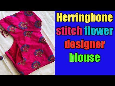 pattu-saree-blouse-design|normal-needle-stitch|hand-embroidery|herringbone-stitch-design-in-telugu