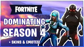 Dominating Fortnite Season 4 - New Skins & Emotes! (Fortnite Battle Royale)