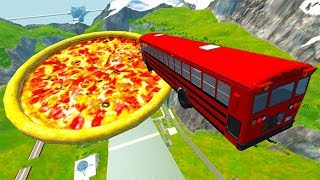Car Jump Arena Jumping In Pizza & Pools Car Crashes - BeamNG drive