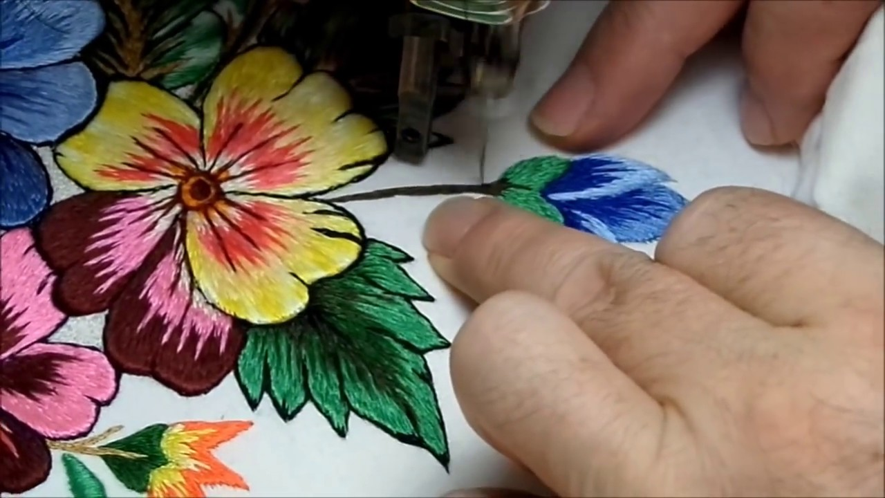 bordados a máquina antigua embroidery ricamo - YouTube