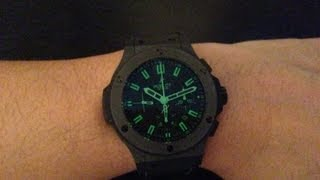 Hublot Big Bang All Black Green Limited Edition Chronograph Watch Review Authentic