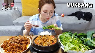 Real Mukbang:) must-eat food in korea.... Ssambap!! (ft. Snail Soya Bean Soup & Spicy Pork Stir Fry)