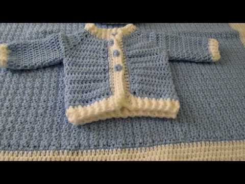 Crochet Baby Boy Blanket Pillow Sweater And Hat Youtube