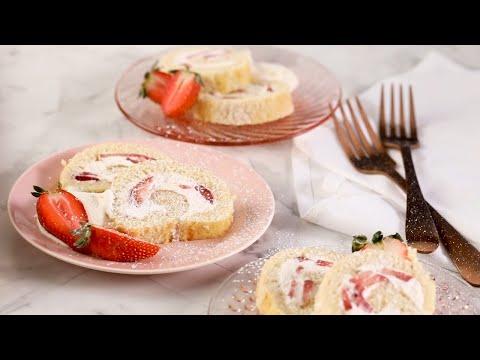 gâteau-roulé-fraises-et-crème