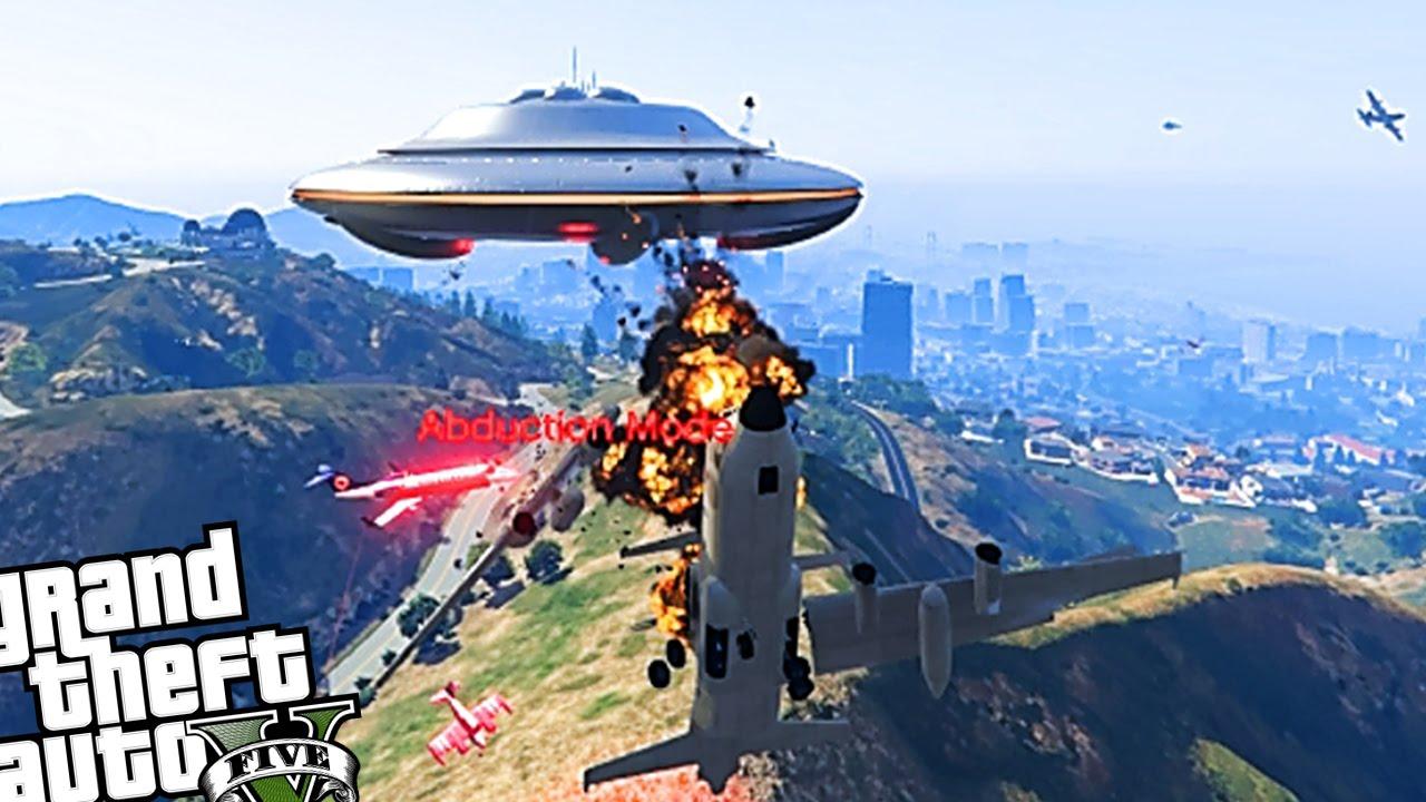 GTA 5 PC - Alien UFO VS Angry Planes Mod! EPIC DESTRUCTION