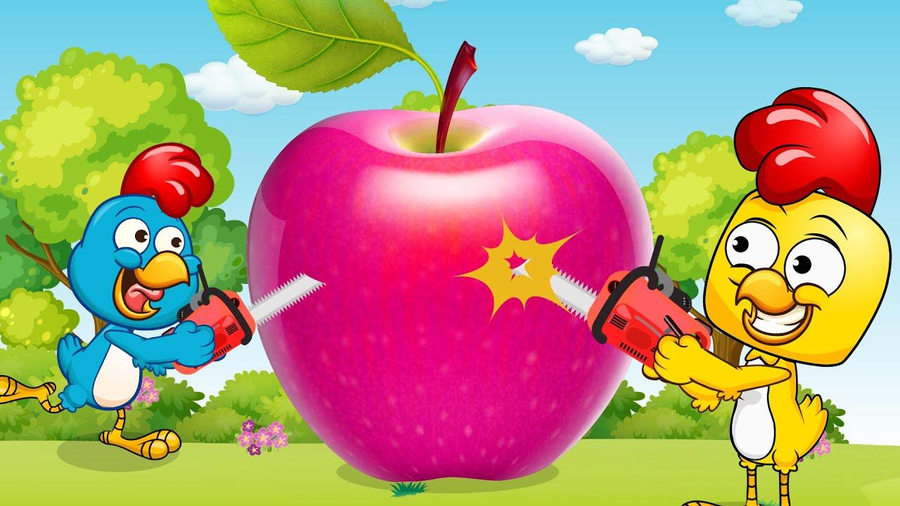 A Galinha Magricela Jugar con manzana gigante - GallinaPintadita - Canciones infantiles