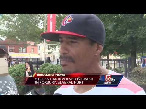 Several hurt when stolen SUV flips over in Roxbury