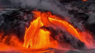 Still photography and video, with music, of the august 2016 lava flow into pacific ocean at hawai'i volcanoes national park. views from a boat, up close ...