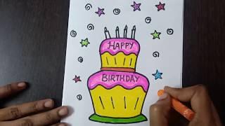 birthday draw card simple