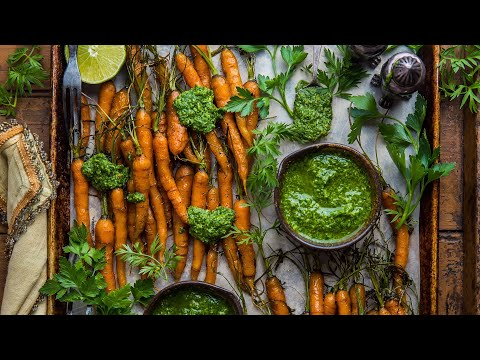 No Waste Maple Roasted Carrots w Carrot Top Pesto