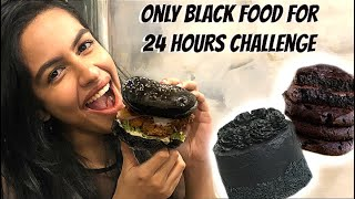 I Only ate BLACK FOOD for 24 hours! So Tufff !!