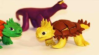 Лепка из пластилина. Динозавр из пластилина. Лепка Анкилозавра.